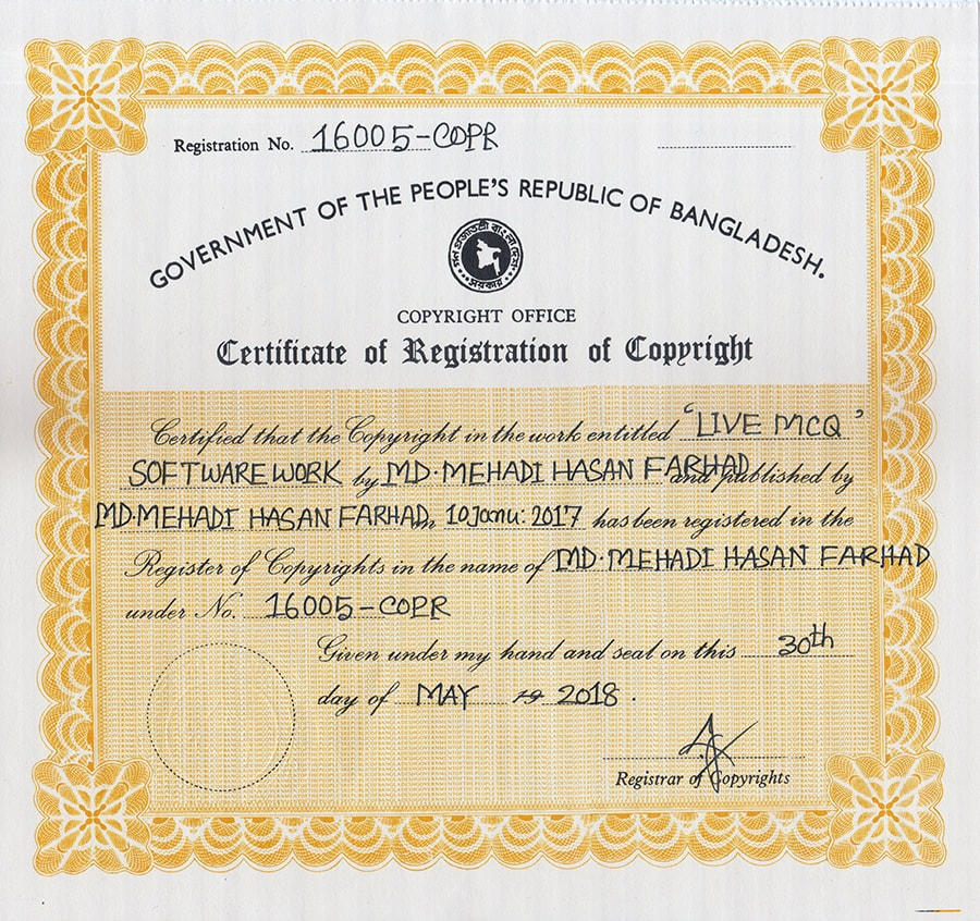 Copyright certificate of LiveMCQ